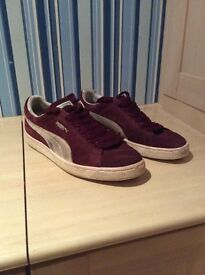 Puma Suede Trainers UK 9 Burgundy. - £20