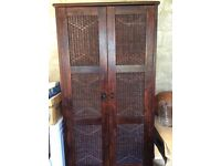 Two Wood Wardrobes with Wicker Panels and Useful Drawer