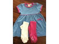 JoJo Maman Bebe Dress & Tights 6-12 Months