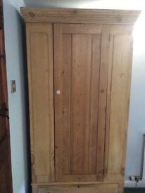 Single Antique Pine Wardrobe