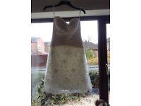 Beautiful short lace effect Ivory Wedding Dress by Venus. - Size 12