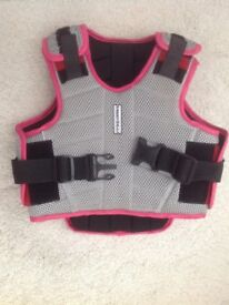 Harry Hall kids girls pink grey body protector used twice excellent condition