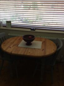 Shabby chic space saver dining table and four chairs for sale due to house move.