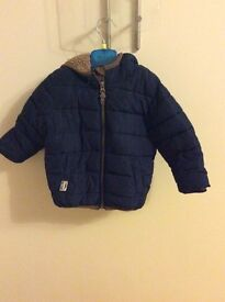 Next boys navy padded fleece lined coat age 12–18 months