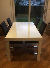 White high gloss table & 4 leather chrome leg chairs