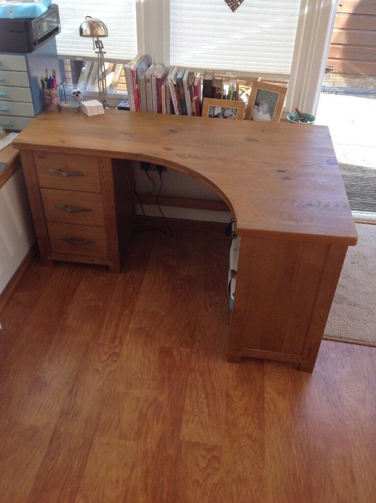 Next Solid Wood Corner Desk With Drawers And Shelves 200