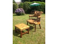 Brown leather Captains Chair & Footstool