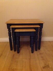 Pine Nest of Tables Country Style/Shabby Chic
