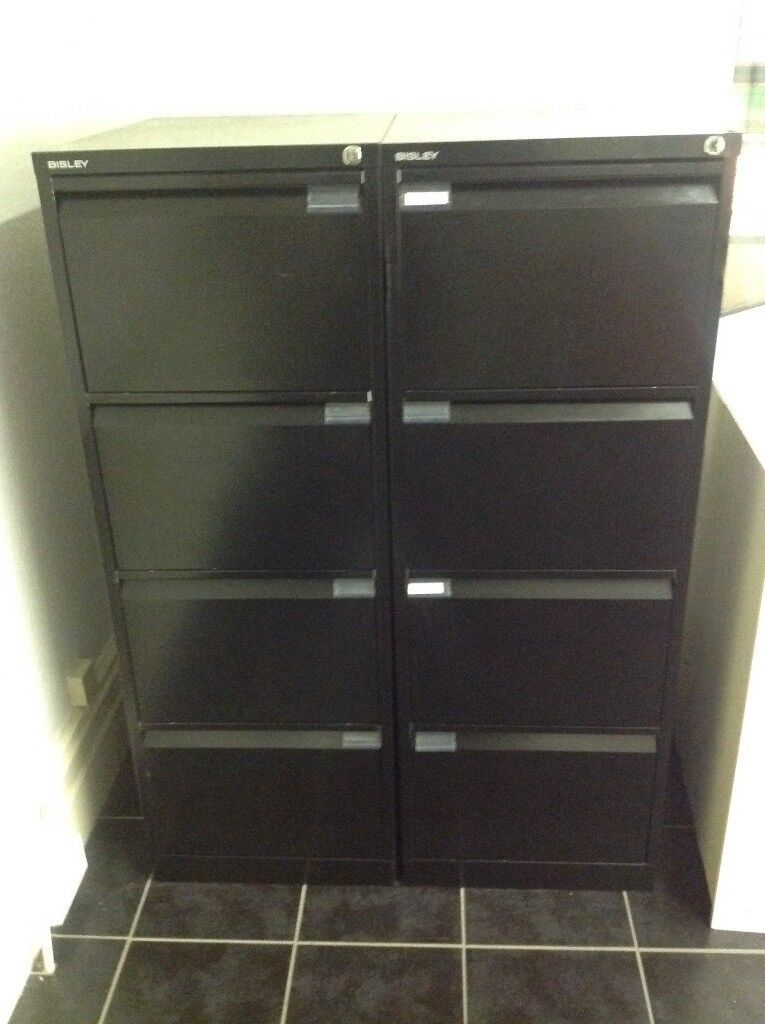 Two black filing cabinets