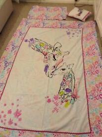 2 X girls single bed set, curtains, cushion,bunting