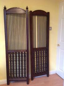 Two Oak Stained Screens