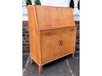 Vintage Lebus 'Link' teak bureau / drinks cabinet / desk. Delivery. Midcentury / Danish style.