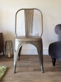 Brand New Tolix Style Dining Chairs Metal Silver/Grey x 4