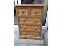 Small 3 plus 2 Pine Chest of Drawers
