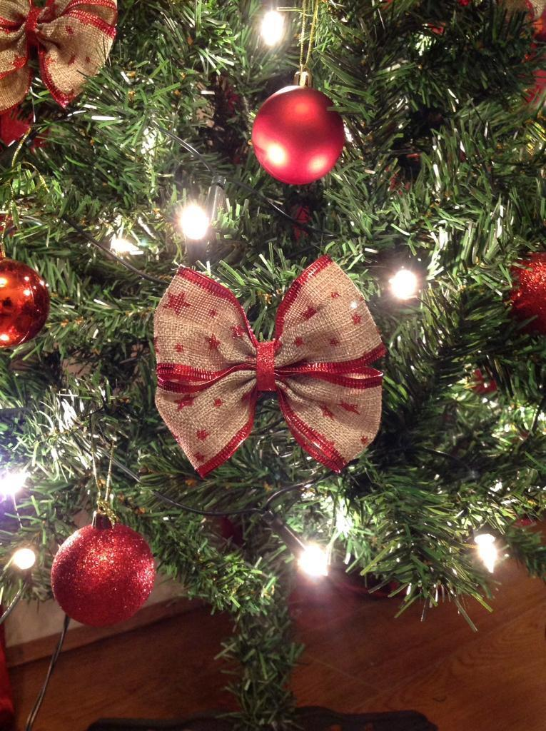 Christmas Tree Bows Red.6 Unique Hessian Christmas Tree Bows With Red Glitter Stars In Kirkby Merseyside Gumtree