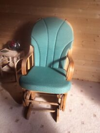 Pine Rocker Chair with green fitted cushions