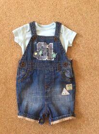 Next Baby Boy Short Dungarees & TShirt