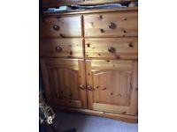 Pine chest of drawers/ cupboard unit, lovely furniture