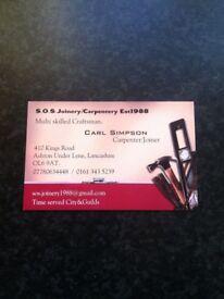 Joiner/carpenter multiskilled available.