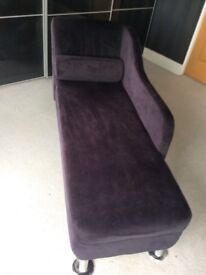 Small black velvet chaise longue