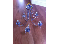 5 light chandelier, chrome finish, very good condition