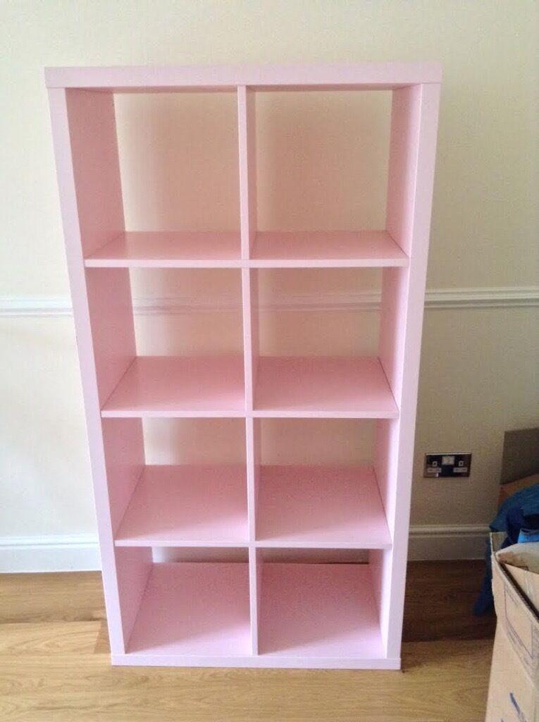 baby pink ikea kallax storage shelves in london bridge