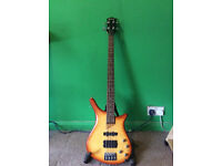 SHINE - Electric Bass Guitar - Sunburst w/ 2 Pickups, 3 Tone, 1 Volume