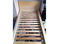 Ikea Maln oak veneer Standard single Bed frame, c/w slatted bed base