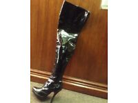 PVC thigh boots size 6