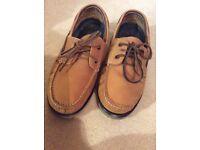 M&S tan nubuck leather deck shoes