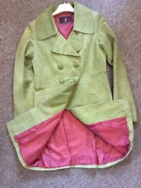 GREEN LEATHER COAT. Size 10-12 100% Leather, Pink Lining 100% Polyester