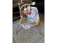 Fisher Price Woodsy Friends Comfy Time bouncer and accessories - excellent condition - £5