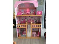 LARGE DOLLS HOUSE WITH LOTS OF FURNITURE ETC. LOVELY