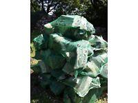FIREWOOD, HARDWOOD LOGS Grade 1: X-Large 15kg (split weight) : net size 80cm x 50cm £5.