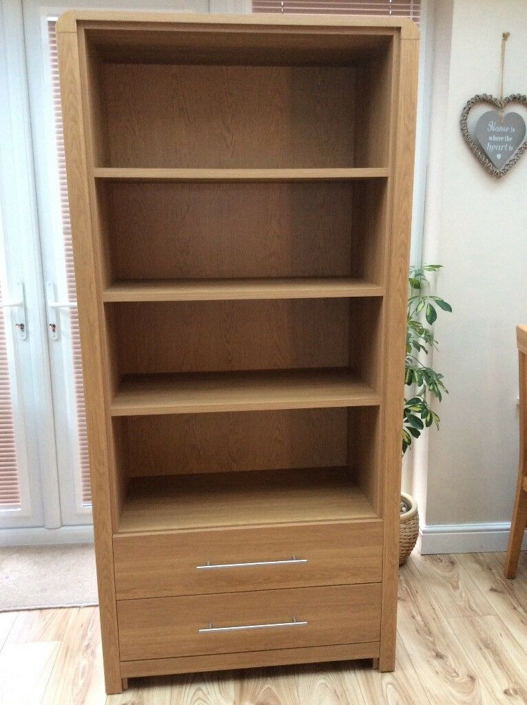 Oak effect bookcase with drawers