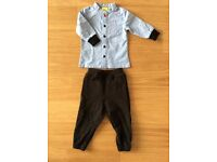 Trendy denim shirt and thick quality joggers. 6-9 months. Scandinavian brand.