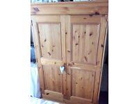 Handmade pine double wardrobe