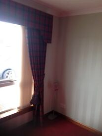 Two pairs tartan curtains with pelmet £200