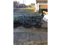 Job lot of 37 bike wheels,tyres and seats all usable perfect working order