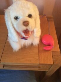 FurReal white fluffy pre-owned dog moves, barks in good conditon.