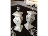 Two matching beautiful Cream Bedside Table Lamp Stands