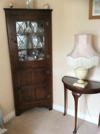 Mahogany corner unit with lattice door and light also half moon hall table to match
