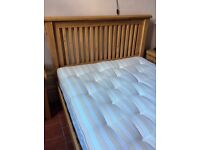King size oak bed with mattress