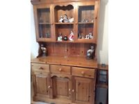 Pine 3 door 3 drawer dresser with 2 glass doors at top