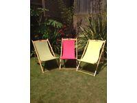 3 John Lewis Deck Chairs pink/yellow/green