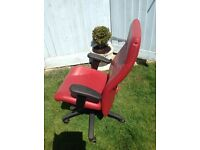 Office/ desk chair high back adjustable red leather