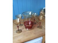 Red and gold, hand-painted hurricane lamp and 4 matching cocktail glasses
