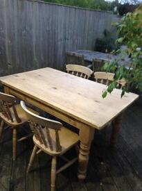 Solid pine and solid oak table and chairs