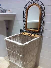 Shabby Chic Mirror & Wicker Basket / Can Deliver