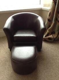 Dunelm Child's Leather Look Chair and Footstool